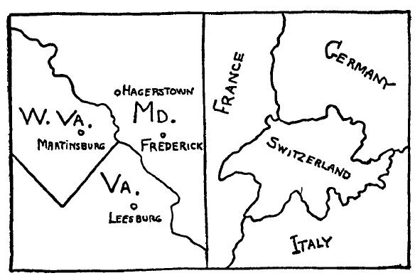 Figura 5 - Mappa topologica della Virginia, Virginia Occidentale e Maryand (a sinistra) e dell'Italia, Svizzera, Francia e Germania (a destra)