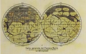 Una mappa del pianeta Marte con la geografia dei suoi canali, disegnata dall'astronomo italiano Giovanni Virginio Schiaparelli (Il pianeta Marte, 1893)